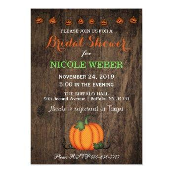 halloween pumpkin fall bridal shower invitation