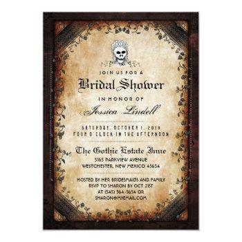halloween skeleton brown gothic bridal shower invitation