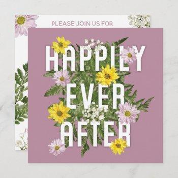 happily every after dusty rose bridal shower invitation