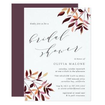 harvest foliage bridal shower invitation