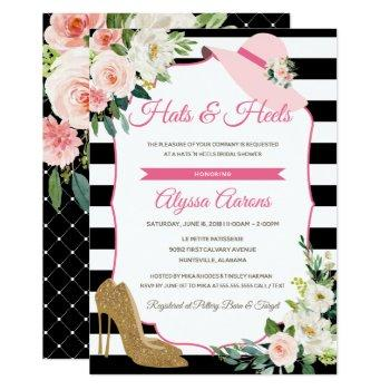 hats & heels derby black pink bridal shower floral invitation