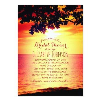 hawaiian sunset tropical tree beach bridal shower invitation