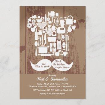 he likes to cook couples bridal shower invitation