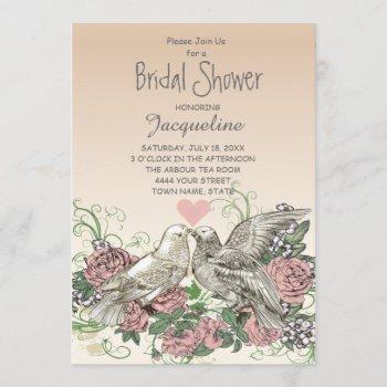 heart doves rose pink romance bridal shower invitation