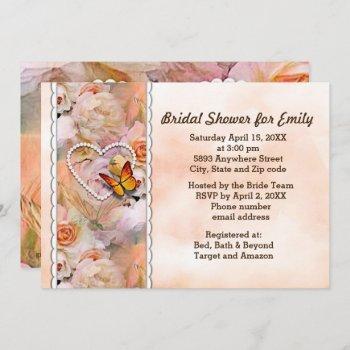 heart pearls, orange roses & butterflies shower invitation