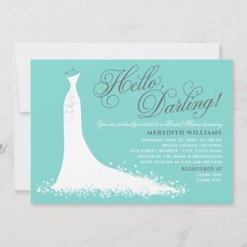 hello darling aqua blue wedding gown bridal shower invitation