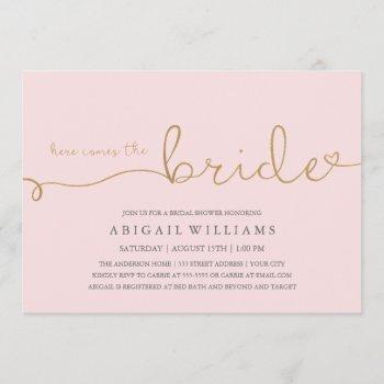 here comes the bride faux gold invitation