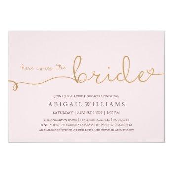 here comes the bride faux gold invitation