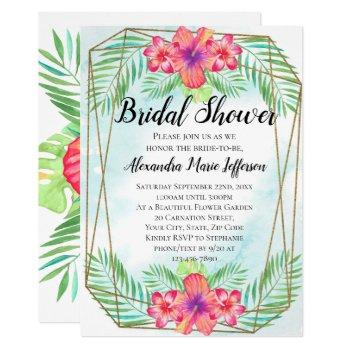 hibiscus flower watercolor beach bridal shower invitation