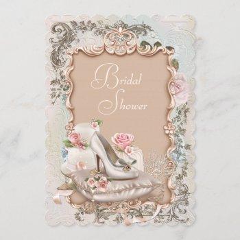 high heel shoe vintage bridal shower invitation