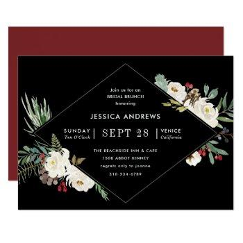 holiday watercolor floral winter bridal shower invitation