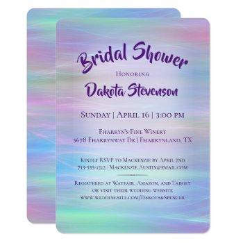 holographic whimsy | pastel rainbow bridal shower invitation