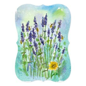 honey bee lavender watercolor flower bridal shower invitation