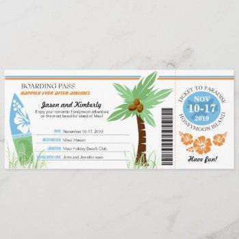 honeymoon gift boarding pass palm tree surf board invitation
