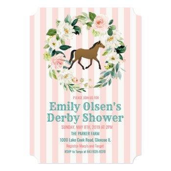 horse floral derby bridal shower invitation