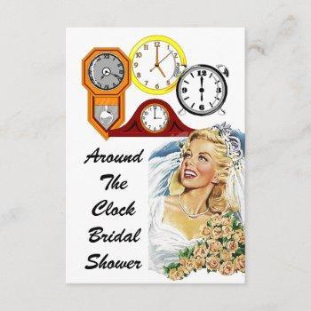 host around the clock bridal shower invitations