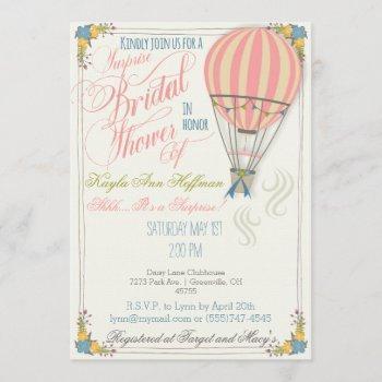 hot air balloon bridal shower invitation. invitation