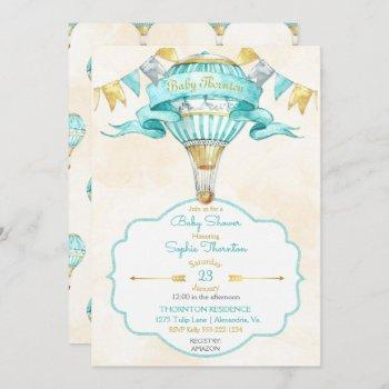 hot air balloon turquoise gold gender neutral invitation