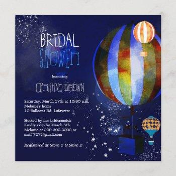 hot air balloons starry evening bridal shower invitation