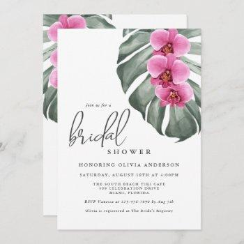 hot pink orchids tropical paradise bridal shower invitation
