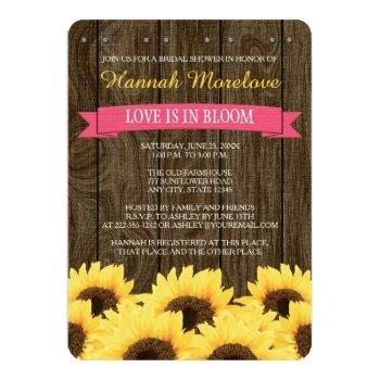 hot pink rustic sunflower bridal shower invite