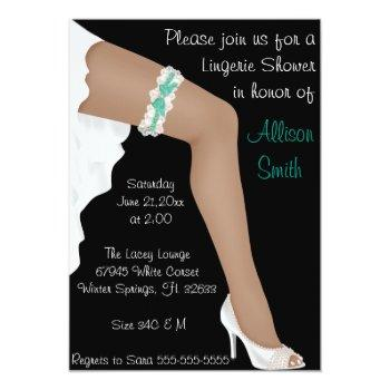 hot teal & white lace lingerie bridal shower invitation