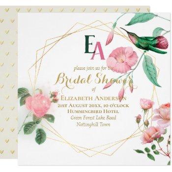 hummingbird mint green pink gold bridal shower invitation