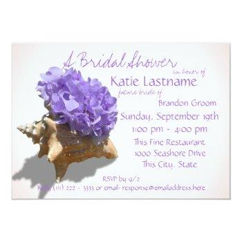 hydrangea and seashell bridal shower lavender invitation