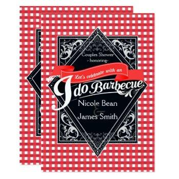 i do barbecue bbq red white checkered engagement invitation