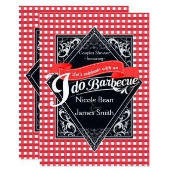 i do barbecue bbq red white checkered engagement invitation