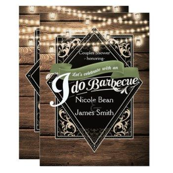 i do barbecue bbq rustic wood & lights engagement invitation