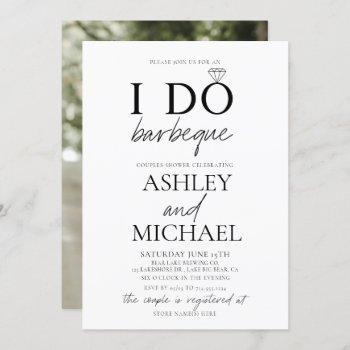i do bbq black & white photo couple shower invitation