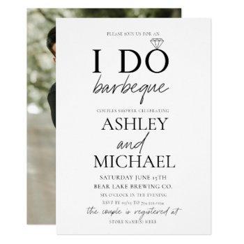 i do bbq black & white simple script photo shower invitation