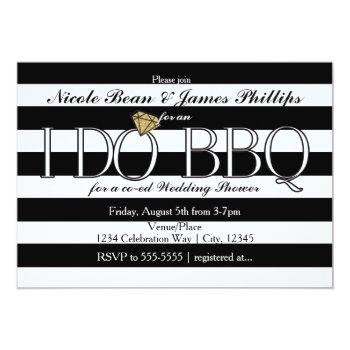 i do bbq black & white stripes wedding shower invitation