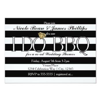 i do bbq black & white stripes wedding shower invitation