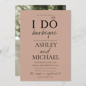 i do bbq blush brown simple script photo shower invitation