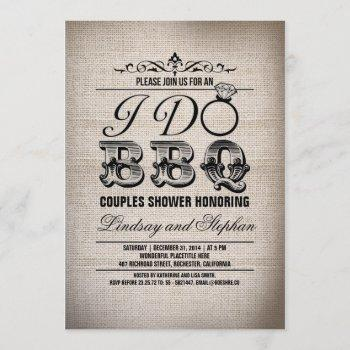 i do bbq burlap couples shower invitation