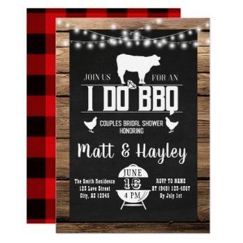 i do bbq couples shower country wooden chalkboard invitation