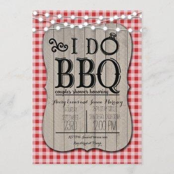 i do bbq red gingham couples shower in wood invitation