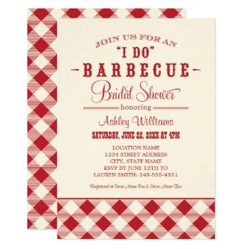 i do bbq red gingham wedding bridal shower invitation