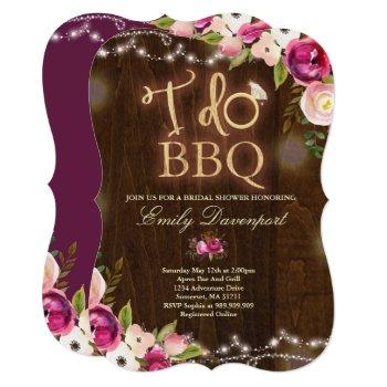 i do bbq rustic bridal shower invitation florals