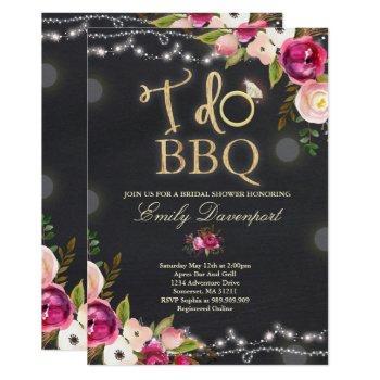 i do bbq rustic bridal shower invitation florals
