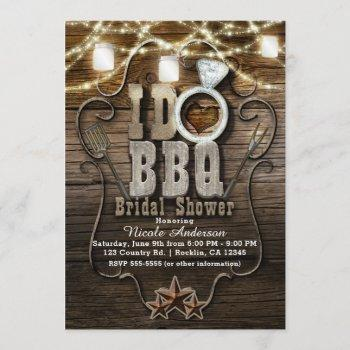 i do bbq rustic mason jars & lights bridal shower invitation