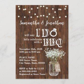 i do bbq wedding shower baby's breath rustic invitation