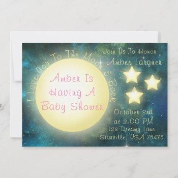 i love you to the moon and back baby shower invite