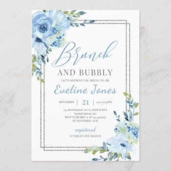 ice blue floral silver geometric brunch and bubbly invitation