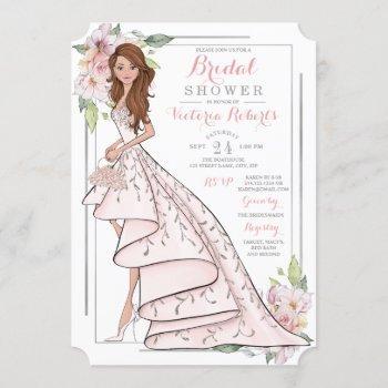 illustrated bride floral bridal shower invitation