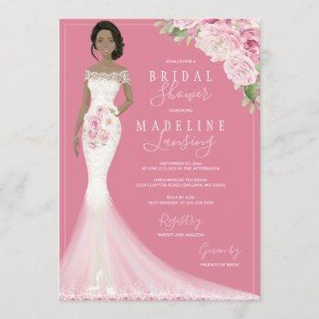 illustrated bride in lace gown bridal shower invitation