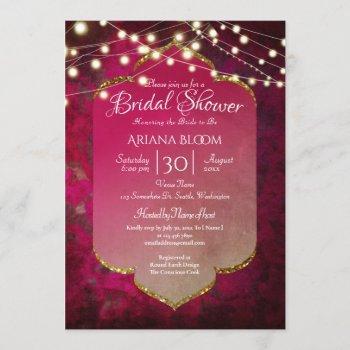 indian inspired boho damask in deep pink invitation