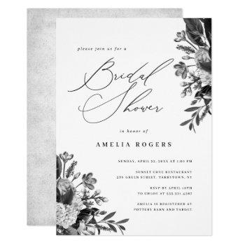 industrial chic floral calligraphy bridal shower invitation